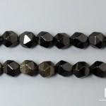 Обсидиан серебристый, нитка с бусинами для рукоделия 5x6 мм