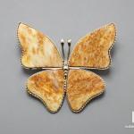 Брошь «Бабочка» с авантюрином, 4,1х3,7х0,2 см