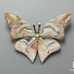 Брошь «Бабочка» с кружевным агатом, 4,9х3,7х0,2 см