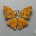 Брошь «Бабочка» с яшмой желтой, 3,8х3,3х0,3 см