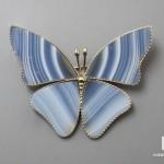 Брошь «Бабочка» с агатом, 4,6х3,7х0,2 см