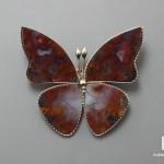 Брошь «Бабочка» с агатом, 3,9х3,4х0,2 см