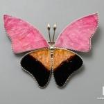 Брошь «Бабочка» с турмалином полихромным, 5х3,8х0,2 см