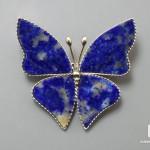 Брошь «Бабочка» с лазуритом, 3,6х3,3х0,2 см