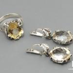 Комплект с ограненным цитрином: кольцо и серьги