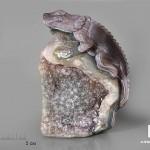 Игуана из агата с жеодой аметиста, 15,2х10,8х6,3 см