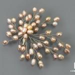 Брошь «Снежинка» с розовым жемчугом, 7,5х6,5 см