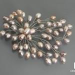 Брошь «Снежинка» с розовым жемчугом, 9,5х7 см